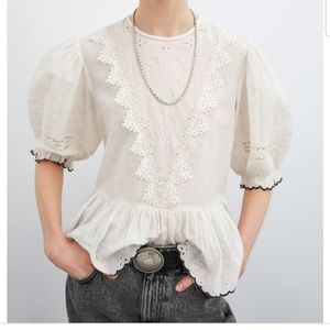 Zara Round neck blouse with elbow-length